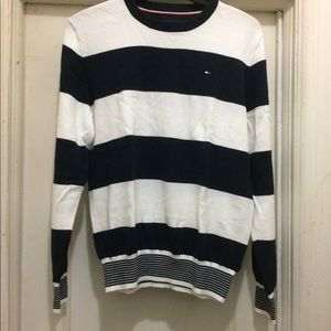 Tommy Hilfiger White Navy Mens Small Crewneck